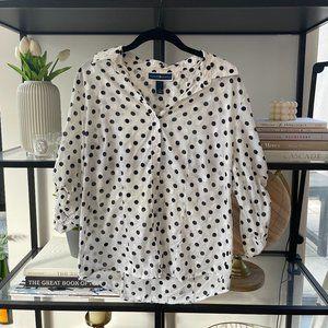 White and Black Polka Dot Top